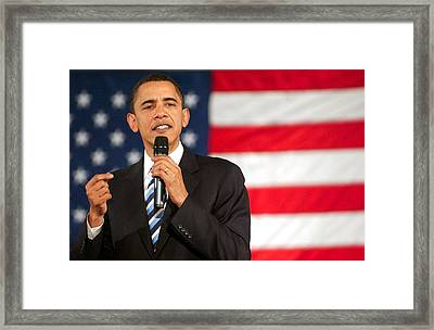 Barack Obama On Stage For Barack Obama Framed Print