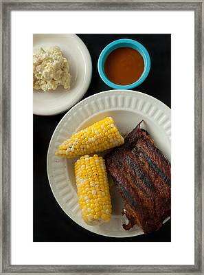 Barbecue Pork Spare Ribs With Corn And Potato Salad Framed Print
