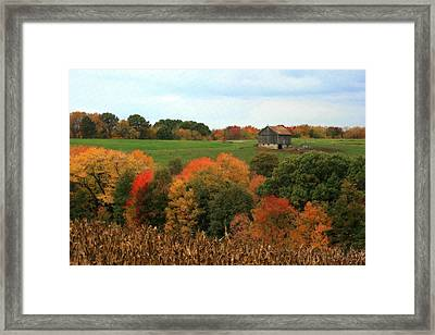 Barn On Autumn Hillside Framed Print by Angela Rath