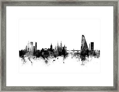 Basel Switzerland Skyline Framed Print by Michael Tompsett