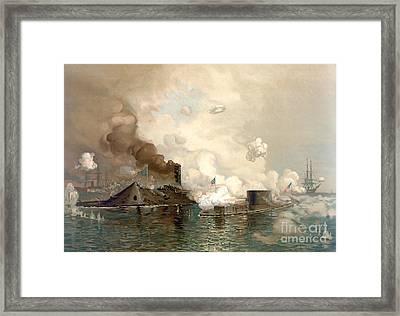 Battle Of Hampton Roads Framed Print