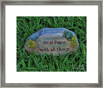Framed Print featuring the photograph 2- Be At Peace by Joseph Keane