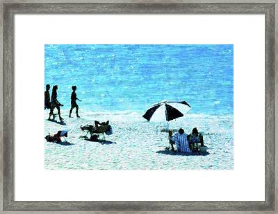 Beach Walk Framed Print by Florene Welebny