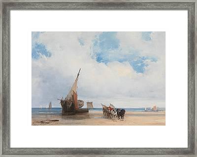 Beached Vessels And A Wagon, Near Trouville, France Framed Print by Richard Parkes Bonington