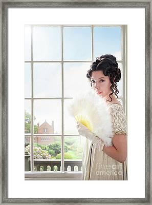 Beautiful Regency Woman At The Window Framed Print by Lee Avison