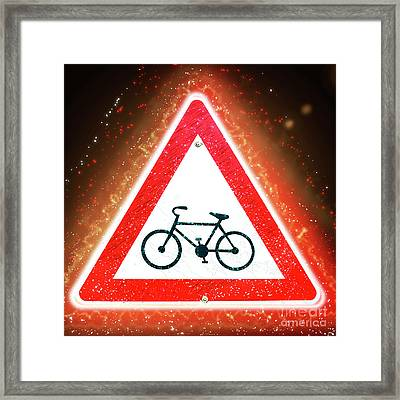 Bicycle Caution Sign Enhanced  Framed Print by Ilan Rosen