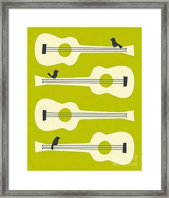 Birds On Guitar Strings Framed Print by Jazzberry Blue