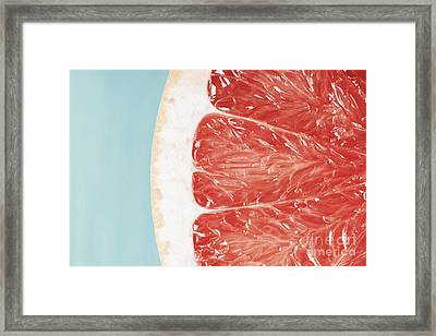Blood Orange Slice Macro Details Framed Print by Radu Bercan
