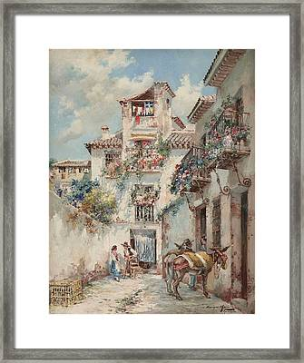 Blossoming Flowers In Granada Framed Print by Enrique Marin