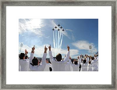 Blue Angels Fly Over The Usna Graduation Ceremony Framed Print by Celestial Images