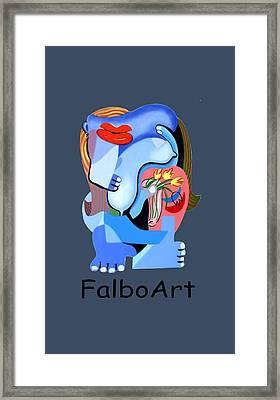 Blue Nude With Tulips Framed Print by Anthony Falbo