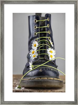 Boots With Daisy Flowers Framed Print by Nailia Schwarz