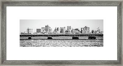 Boston Skyline Black And White Panorama Photo Framed Print
