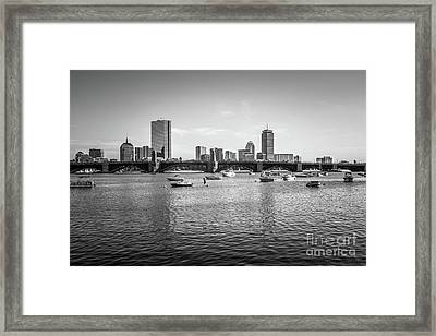 Boston Skyline Black And White Photo Framed Print by Paul Velgos