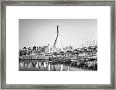 Boston Zakim Bridge Black And White Photo Framed Print by Paul Velgos