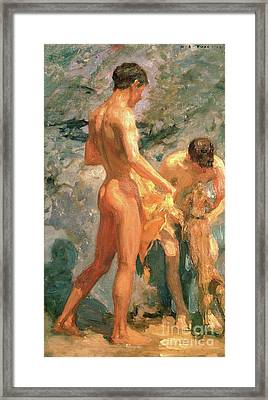 Boys Bathing Framed Print