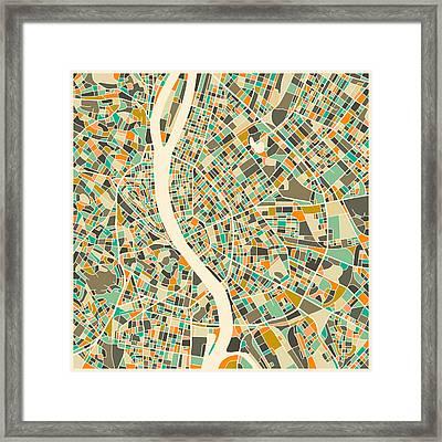 Budapest Map Framed Print