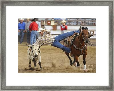 Bull Doggin Framed Print by Dennis Hammer
