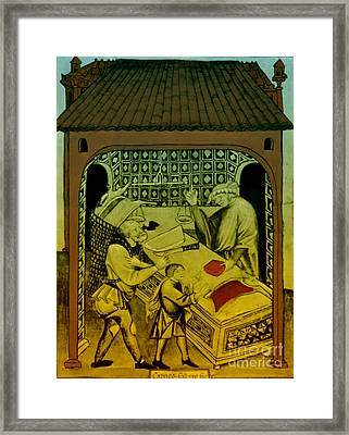Butcher, Medieval Tradesman Framed Print by Science Source