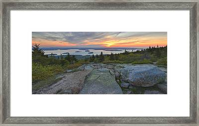 Framed Print featuring the photograph Cadillac Mountain Sunrise by Stephen  Vecchiotti