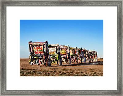 Cadillac Ranch Framed Print by Edwin Verin
