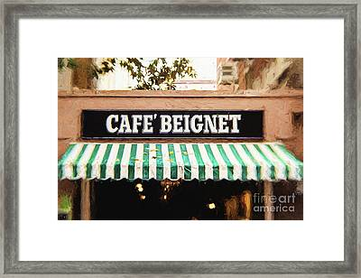 Cafe Beignet - Digital Painting Framed Print