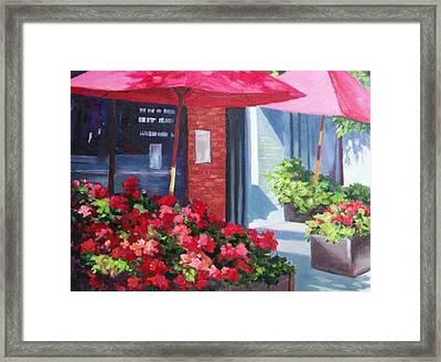 Cafe In Red Framed Print by Maralyn Miller