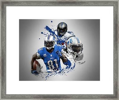 Calvin Johnson Lions Framed Print by Joe Hamilton