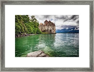 Castle On  Lake Geneva Framed Print