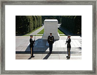 Changing Of Guard At Arlington National Framed Print