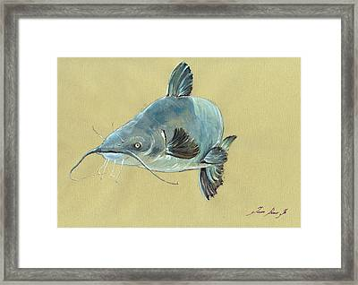 Channel Catfish Fish Animal Watercolor Painting Framed Print by Juan  Bosco