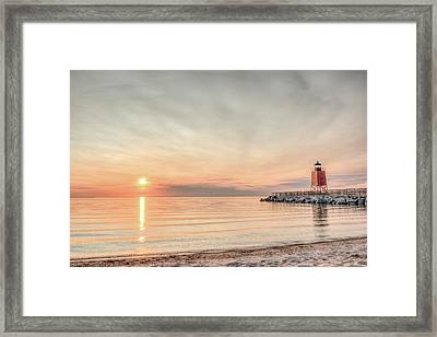 Charelvoix Lighthouse In Charlevoix, Michigan Framed Print by Peter Ciro