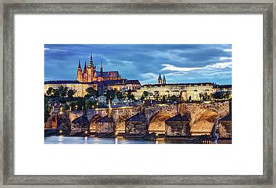 Framed Print featuring the photograph Charles Bridge And Prague Castle / Prague by Barry O Carroll
