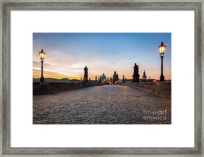 Charles Bridge At Sunrise, Prague, Czech Republic. Dramatic Statues And Medieval Towers. Framed Print by Michal Bednarek