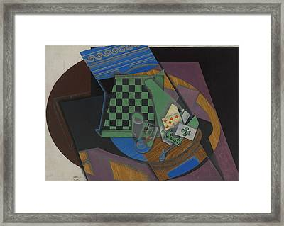 Checkerboard And Playing Cards Framed Print by Juan Gris