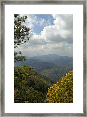 Cherohala Skyway In Autumn Color Framed Print by Darrell Young