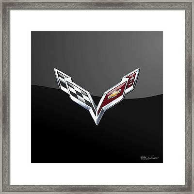 Chevrolet Corvette 3d Badge On Black Framed Print