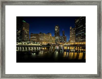 Chicago River And Skyline At Dawn Framed Print