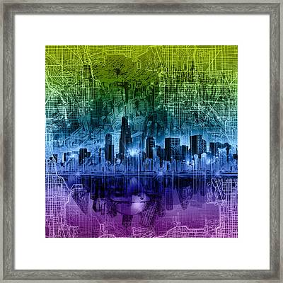 Chicago Skyline Abstract Framed Print
