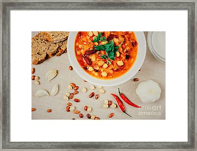Chili Beans Stew, Bread, Red Chili Pepper And Garlic Ready To Be Served Framed Print by Radu Bercan