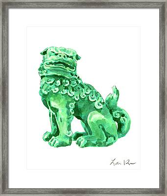 Chinese Foo Dog - Fu Guardian Lion Jade Green Carved Asian Antique Chinoiserie Framed Print by Laura Row