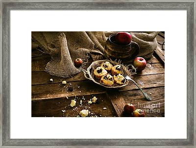 Chocolate Chips And Almond Muffins Framed Print by Mythja  Photography