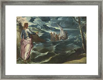 Christ At The Sea Of Galilee Framed Print by Tintoretto