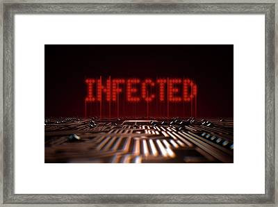 Circuit Board Infected Text Framed Print