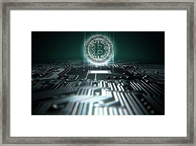 Circuit Board Projecting Bitcoin Framed Print