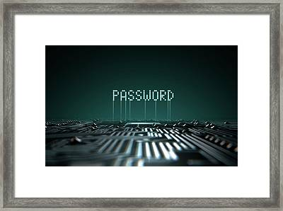Circuit Board Projecting Password Framed Print by Allan Swart