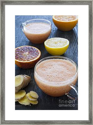 Citrus Smoothies Framed Print by Elena Elisseeva