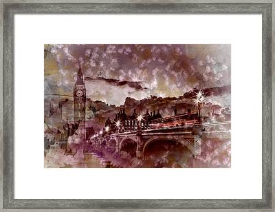 City-art London Westminster Bridge At Sunset Framed Print by Melanie Viola