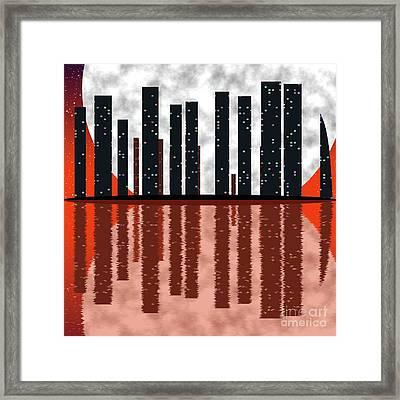 City Skyline At Full Moon Framed Print by Michal Boubin