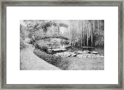 Claude Monet In His Garden At Giverny Framed Print by French School